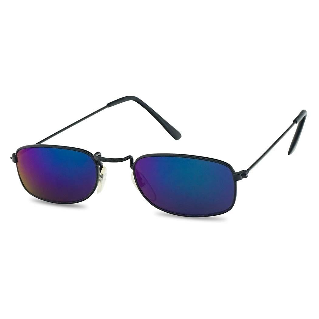 4ed5da4fc6 Amazon.com  Small 90 s Vintage Rectangular Thin Metal Frame Reflective  Mirrored Slender Sunglasses - Unisex (Black Frame