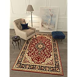 "Persian Classic Red Burgundy 5'3"" x 7'3"" Area Rug Oriental Floral Motif Detailed Classic Pattern Antique Living Dining Room Bedroom Hallway Office Carpet Easy Clean Traditional Soft Plush Quality"