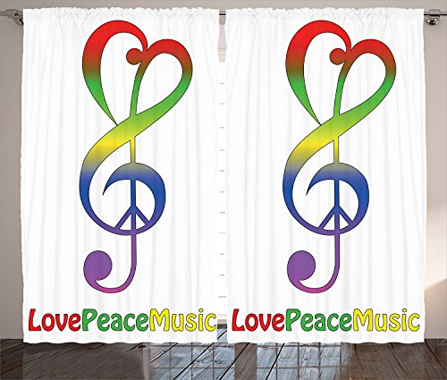 1960s Decorations Collection Love Peace and Music Clef Musical Notes Bass Old Sign Slogan Live Feeling Celebration Image Living Room Bedroom Curtain 2 Panels Set Red