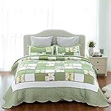 Bedsure Printed Quilt Coverlet Set Bedspread Full/Queen(86''x96'') Green Ruffle Lightweight Hypoallergenic Microfiber