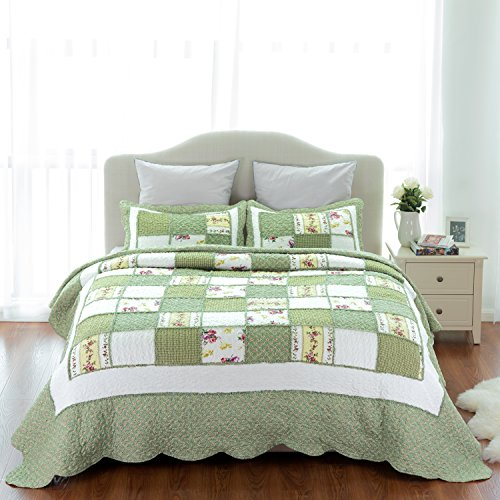 Bedsure 3-Piece Printed Quilt Set King Size (106x96 inches), Green Ruffle, Lightweight Coverlet Design for Spring and Summer, 1 Quilt and 2 Pillow Shams