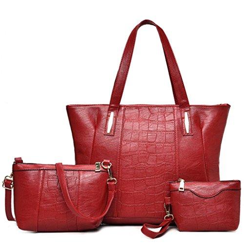 NVBAO Borsa femminile tre pezzi borsa a mano + borsa a tracolla + borsa piccola Una donna deve avere un prodotto, grey Red