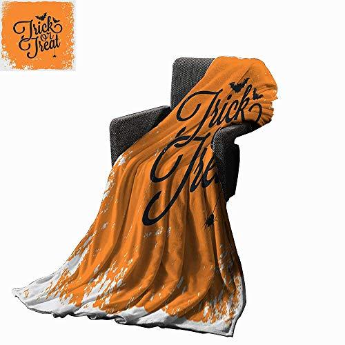 Vintage Halloween Custom Design Cozy Flannel Blanket Trick or Treat Halloween Theme Celebration Image Bats Tainted Backdrop 50