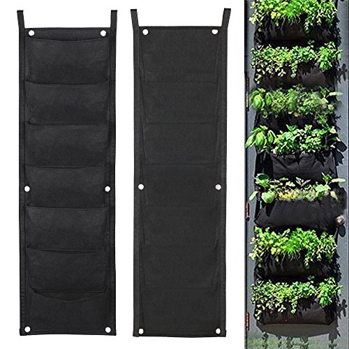 Space Saving 7 Pocket Vertical Wall Mount Planter For Growing Plants Flowers Herbs Looks Beautiful For Your Outdoor Balcony - Town Charlotte Center