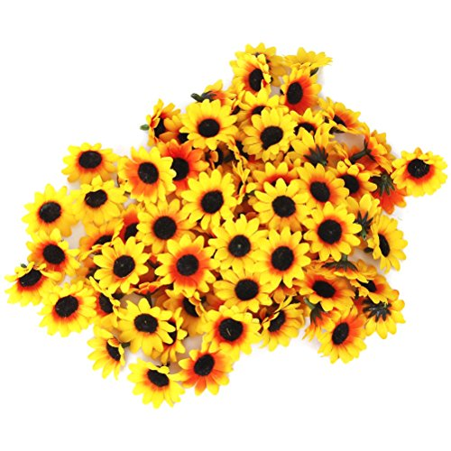 Pixnor 100x Artificial Gerbera Daisy Flowers Heads for DIY Wedding Party (Yellow Sunflower)