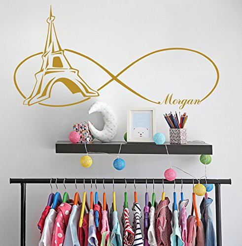 (N.SunForest Personalized Sticker - Girls Name Wall Decal - Vinyl Decals for Girls - Paris Themed Bedroom - Eiffel Tower Decal - Infinity)