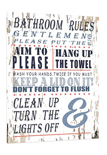 Bathroom Rules Fun Wall Art - Framed - Bathroom Signs Canvas Print Home Decor Wall Art, Gallery Wrap Inner Frame, 24x30