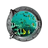 Hatop Submarine Portholes Wall Sticker Kids Coral Fish Boat Scuttles Decals Mural Art Nursery Home Decor (B)