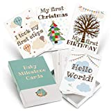 Milestone Cards for Baby Shower Gifts – Large 50 Card Set in Keepsake Box - Unisex Design by a CANADIAN MOM