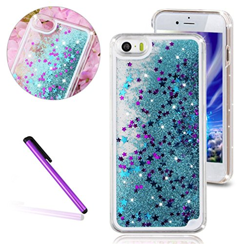 iPhone 4 Case,iPhone 4s Case,4s iPhone Cases,LEECOCO Creative 3D Stars Floating Quicksand Shiny Bling Glitter Flowing Liquid Transparent Clear Hard PC Protective Case for iPhone 4S Star Blue