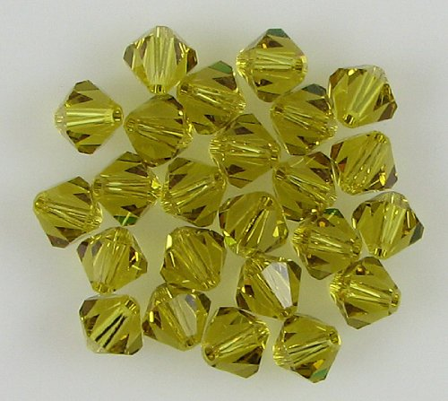 24 6mm Swarovski crystal bicone 5301 Lime beads