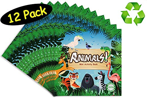 Zoo Animals Party Favors Mini Activity Book // 100% Recycled Full Color // 12-pack, 4.75 x 4.75 -