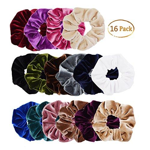 Chloven 16 Pack Velvet Scrunchies Hair Bobble Elastics Hair Scrunchy Hair Bands Headbands Scrunchies For Women Hair Ties, 16 Colors