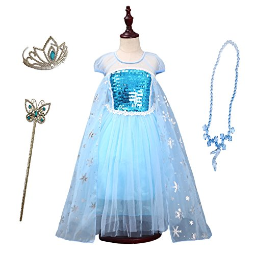 FamilyCrazy Cosplay Cinderella Butterfly Party Girls Costume Dress for Toddlers with Tiara Necklaces and Wand