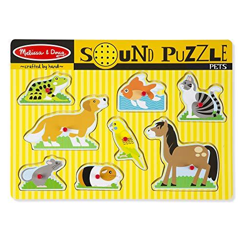Melissa & Doug Pets Sound Puzzle - Wooden Peg Puzzle With Sound Effects (8 pcs) (Puzzles With Sound)