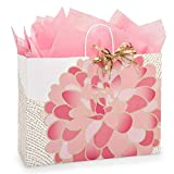 Gilded Blooms Paper Shopping Bags - Vogue Size - 16 x 6 x 12 1/2in. - 150 Pack