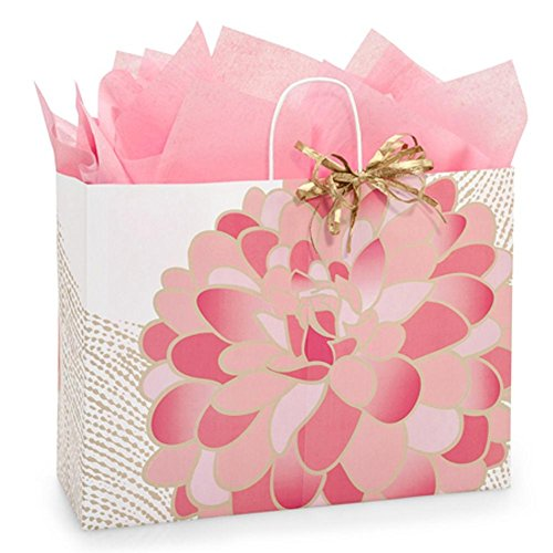 Gilded Blooms Paper Shopping Bags - Vogue Size - 16 x 6 x 12 1/2in. - 150 Pack by NW