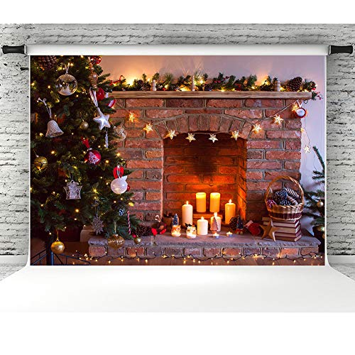 7x5ft Decorated Christmas Tree Photography Backdrop Red Brick Fireplace Vinyl Party Background Dark Vintage Photo Booth Backdrop for Studio