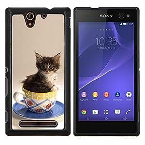 TECHCASE---Cubierta de la caja de protección para la piel dura ** Sony Xperia C3 ** --Gatito Gato lindo en una taza
