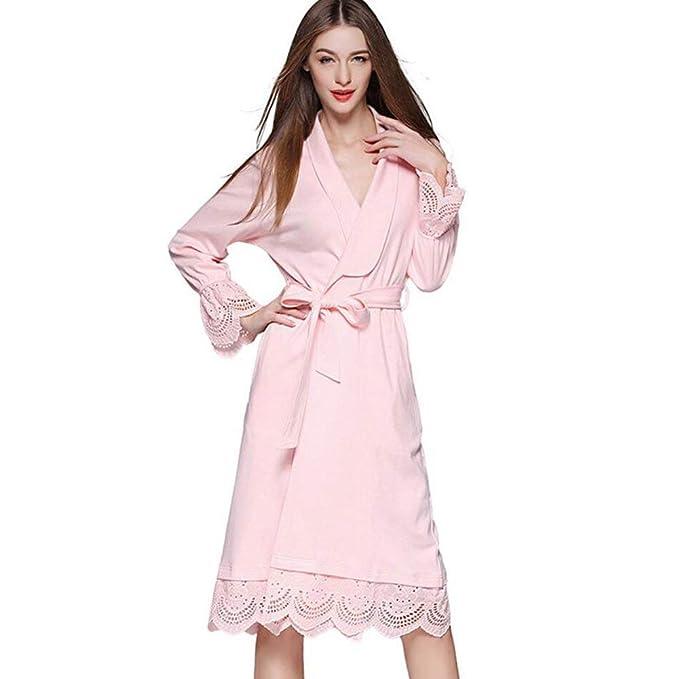 Pijama Mujer Primavera Otoño Largo Elegante Kimono Moda Manga Larga Batas Vintage Color Sólido V-Cuello Splice Encaje Camisones Pijamas Mujer con Cinturón: ...