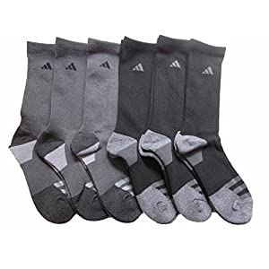 adidas Men's Athletic Crew Socks (6-Pack) (Dark Grey/Black) Shoe Size 6-12