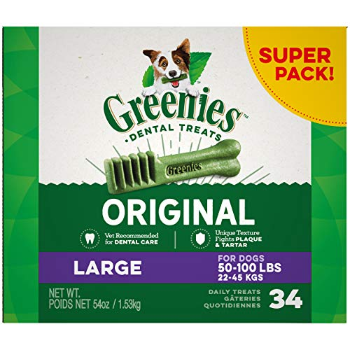 GREENIES Original Large Natural Dental Care Dog Treats, 54 oz. Pack (34 Treats)
