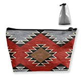 pengyong Native American Patterns Ideas Makeup Bag Large Trapezoidal Storage Travel Bag Wash Cosmetic Pouch Pencil Holder Zipper Waterproof