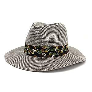 JAUROUXIYUJIN Vintage Women's Summer Beach Sun Visor Cap Panama Hat Straw Fedora Male Sunhat Chapeau Cool Jazz Trilby Cap (Color : Gray, Size : 56-58CM)