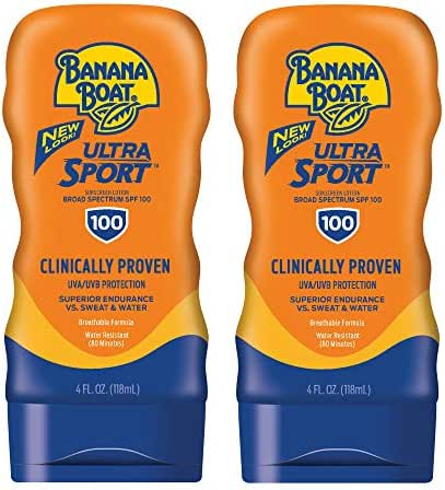Banana Boat Ultra Sport Sunscreen Lotion, New Formula, SPF 100, 4 Ounces (Pack of 2)