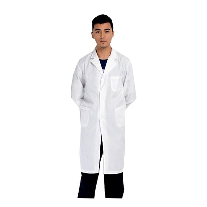 WTUS Bata Médico Laboratorio Farmacia Enfermera Sanitaria de Trabajo con Manga Larga Blanca para Hombre: Amazon.es: Ropa y accesorios