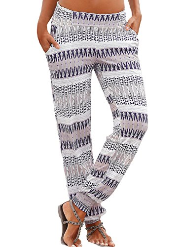 Eytino Women Elastic Waist Loose Fit Floral Print Hippie Harem Lounge Yoga Pants,X-Large Grey