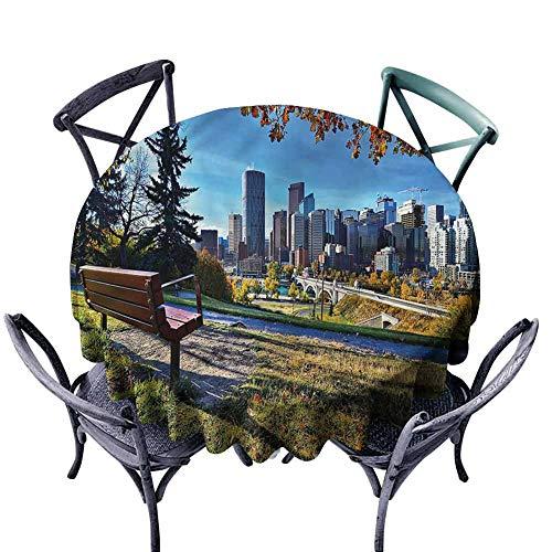 ScottDecor Beach Round Tablecloth City,Autumn Park in Calgary Fabric Tablecloth Diameter 60