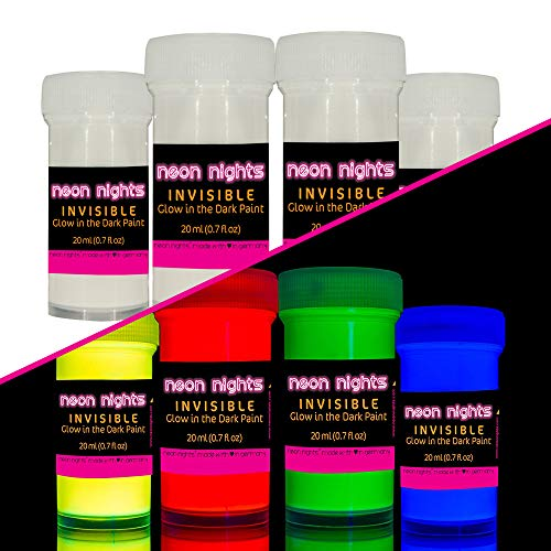 'Invisible' Wall and Canvas Paints by neon nights- 4 Invisible UV Glow in The Dark Paint Cans - Vibrant Ultraviolet Paints Charge in The Daylight and Glow in The Darkness - 20ml Luminescent Cans]()