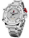 SHARK Men's LED Date Day White Dial Sport Military Stainless Steel Quartz Wrist Watch SH104