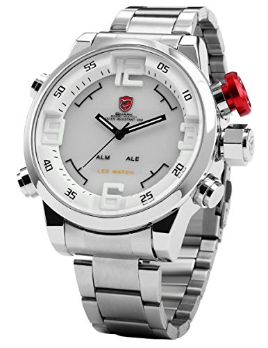 Genuine Shark Watch - SHARK Men's LED Date Day White Dial Sport Military Stainless Steel Quartz Wrist Watch SH104