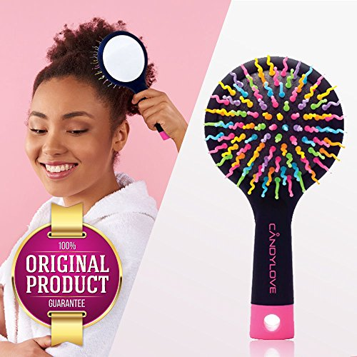 CANDYLOVE Detangler Hair Brush with Mirror for Kids, Ladies. Prevent Tangling, Knots with Portable Smoothing Straightener. Unique Bristles for Frizzy, Tease & Wet. Creative Healthy Hair. [M, (Wavy Round Tip Black Nylon)