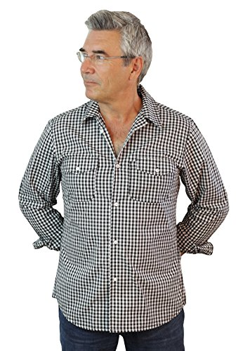ASD Living Long Sleeve Server Waitstaff ShirtBlack/White, Extra Large, Gingham by ASD Living