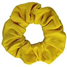 Yellow Cotton Jersey Scrunchies Large Jumbo Ponytail Holder Scrunchie King
