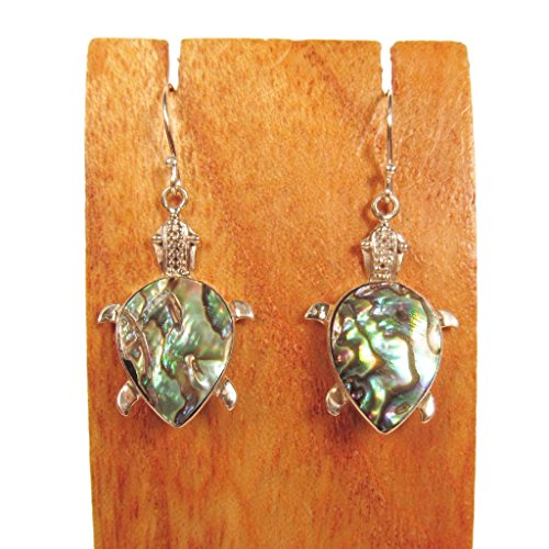 Abalone Turtle - Sterling Silver Abalone Shell Turtle Dangle Earring Bali Bay Trading Co