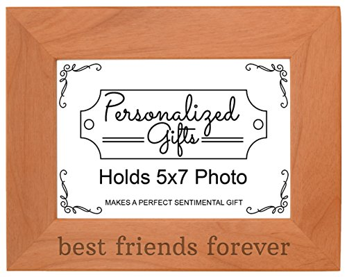 ThisWear Best Friends Forever Gift Besties BFF Gift Natural Wood Engraved 5x7 Landscape Picture Frame Wood