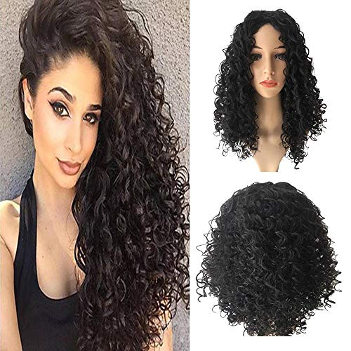 Iusun Long Curly Wigs - Ship From USA,27'' Black Natural Looking Women's Full Brazilian Bob Wavy Heat Resistant Synthetic Hair Cosplay Costume Daily Party Anime Hair Wig High Temperature Fiber (Black) ()