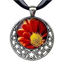 GiftJewelryShop Orange Daisy Retro Style Round Seven Stars Pendant Charm Necklaces