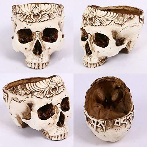 SaveStore 1pc Creative Resin Classic Human Skull Flowerpot