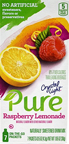 Crystal Light Pure Raspberry Lemonade On The Go Drink Mix, 7-Packet Box (28 Box Pack) by Crystal Light