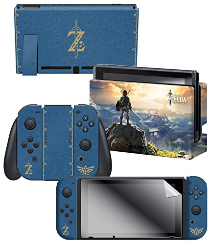 """Controller Gear Nintendo Switch Skin & Screen Protector Set, Officially Licensed By Nintendo - The Legend of Zelda Breath of the Wild """"The Legend of Zelda"""" - Nintendo Switch 1"""