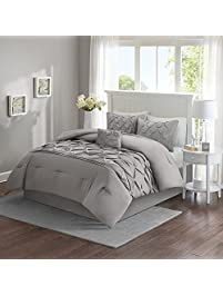 comfort spaces cavoy comforter set 5 piece tufted pattern gray king