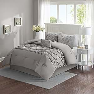 Comfort Spaces U2013 Cavoy Comforter Set   5 Piece U2013 Tufted Pattern U2013 Gray U2013  Full