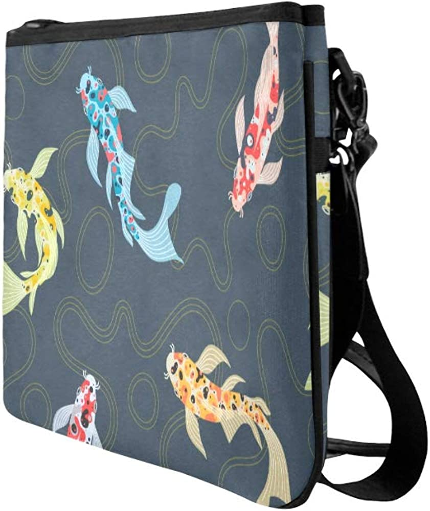 Travel Bags Cross Body Cute Sea Creatures Fish Blue Carp Adjustable Shoulder Strap Girl Fashion Bags For Women Girls Ladies Clutch Bag For Wedding Canvas Fashion Tote Bag