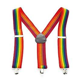 Amberjewellery Bright Rainbow Adjustable Belt Braces Unisex Suspenders 3.5cm