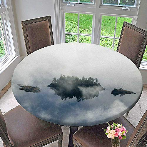 PINAFORE HOME Elasticized Table Cover Fog in Autumn Over Islands and Hills North of Portland Maine Machine Washable 67